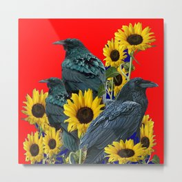 DECORATIVE RED ART SUNFLOWERS & CROW/RAVENS COVEN Metal Print