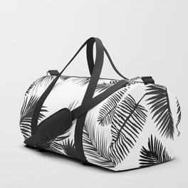 Black And White Palm Leaves Duffle Bag