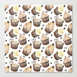 Watercolor cupcakes Canvas Print