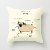 Throw Pillows featuring Anatomy of a Pug by Sophie Corrigan
