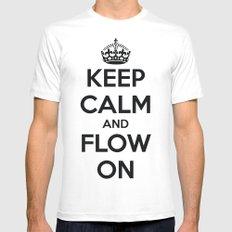 Keep Calm  White Mens Fitted Tee MEDIUM