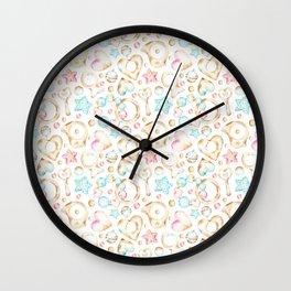 Modern hand painted pink teal orange watercolor heart stars baby pattern Wall Clock