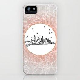 Houston, Texas City Skyline Illustration Drawing iPhone Case