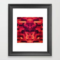 Abstract  geometric triangle texture pattern design in diabolic future red Framed Art Print