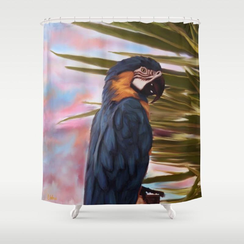 Mccaw Parrot Shower Curtain by Christinaart CTN8001660