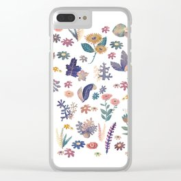 Watercolor Nature Pattern Clear iPhone Case