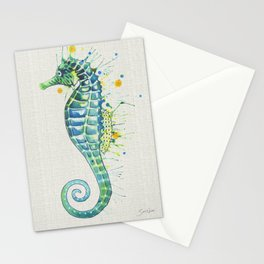 Seahorse: Green Natural Stationery Cards