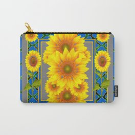 DECORATIVE BLUE-GREY SUNFLOWERS ART Carry-All Pouch