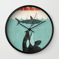 killer whale Wall Clocks featuring Jaws Killer Whale Switcheroo  by Creative Spectator