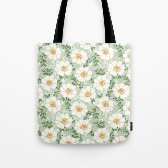 Sage pastel white green flowers blossom garden summer spring nature pattern painting florals Tote Bag