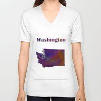 washington V-neck T-shirts featuring Washington Map by Roger Wedegis