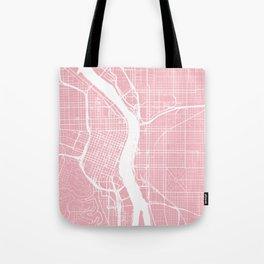 Pink City Map of Portland, Oregon Tote Bag