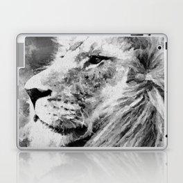 Lion Black and White  Mixed Media Digital Art Laptop & iPad Skin