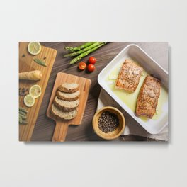 Grilled Salmon Steak is Ready Metal Print