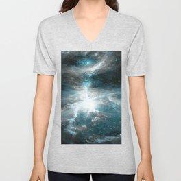 Orion Nebula Teal Gray Galaxy Unisex V-Neck