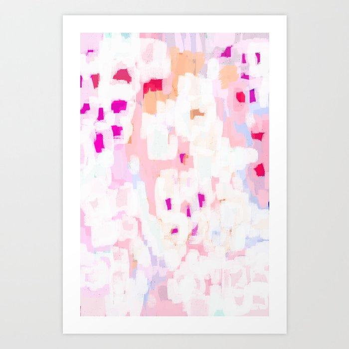 Netta - abstract painting pink pastel bright happy modern home office dorm college decor Kunstdrucke
