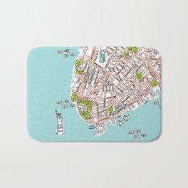 Fun New York City Manhattan street map illustration Bath Mat