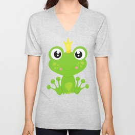 Frog Prince, Green Frog, Frog With A Crown Unisex V-Neck