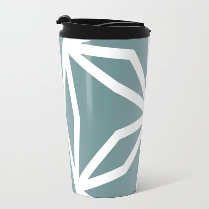 CUBIC FLOWER PATTERN - blue Travel Mug