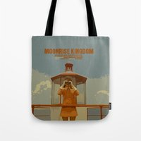 moonrise kingdom Tote Bags featuring Moonrise Kingdom by FunnyFaceArt