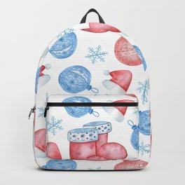 Watercolor Christmas pattern of Christmas balls, red caps and snowflakes Backpack