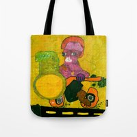 motorcycle Tote Bags featuring Motorcycle  by Vera A. Fehér