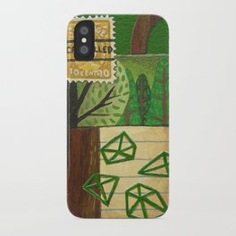 Nature Stamp Trees Wood Geometric Painting iPhone Case