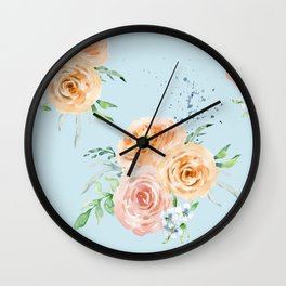Pastel Floral Pattern 03 Wall Clock