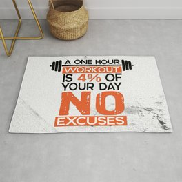A one hour workout is 4 of your day no excuses Fitness Typography Quotes Rug