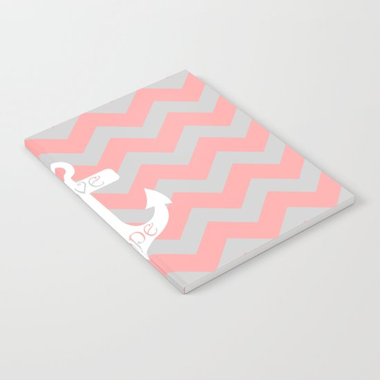 Anchor Chevron Gray Coral Pink Notebook