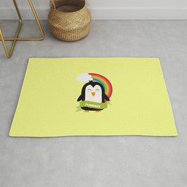 Penguin Rainbow from Florence T-Shirt for all Ages Rug