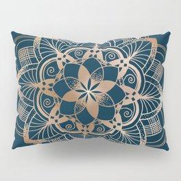 Lotus metal mandala on blue Pillow Sham