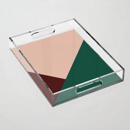 Burgundy and Green Geometric Acrylic Tray
