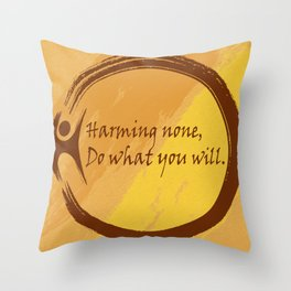 Harming None Do What You Will Color Background Throw Pillow