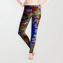 Authentic Aboriginal Art - Waterholes Corela Leggings