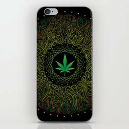 Magic plant. Marijuana leaf. mandala iPhone Skin