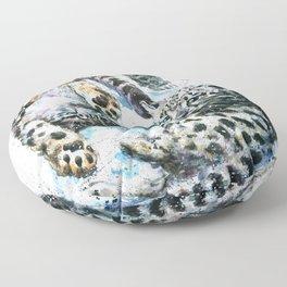 Little snow leopards Floor Pillow