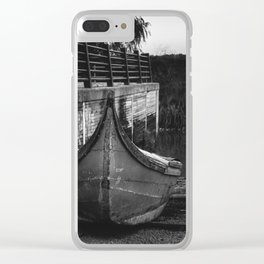 Resting boat (B&W) Clear iPhone Case