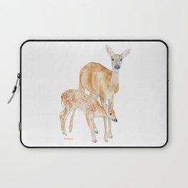 Mother and Baby Deer Watercolor Laptop Sleeve