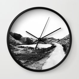 Road through the Glen - B/W Wall Clock