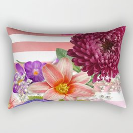 Flowers and Pink Stripes Rectangular Pillow