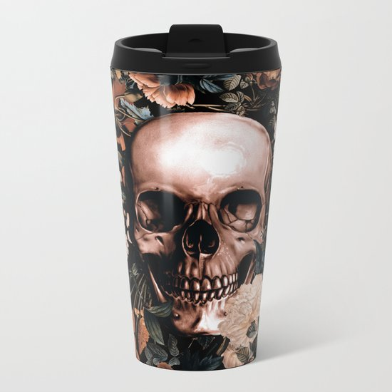 SKULL AND FLOWERS II Metal Travel Mug