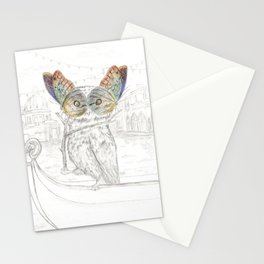 Miss Owl and butterfly friends at the Venice Carnival Stationery Cards