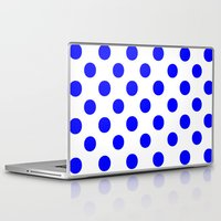polka dots Laptop & iPad Skins featuring Polka Dots (Blue/White) by 10813 Apparel