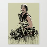 daryl Canvas Prints featuring Daryl Dixon by Huebucket