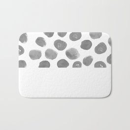 Grayson - grey and white modern brushstroke monochromatic dots abstract painting design hipster art Bath Mat
