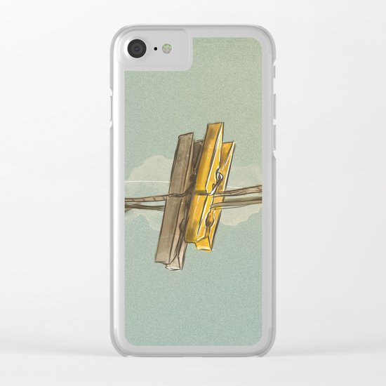 Vintage Clothespin Clear iPhone Case