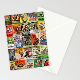 Vintage Motorcycle Race Posters Stationery Cards