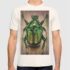 Scarab Beetle SMALL Natural Mens Fitted Tee