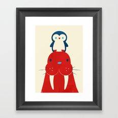 Penguin & Walrus Framed Art Print